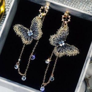 Butterfly Crystal Long Tassel Drop Dangle Earrings